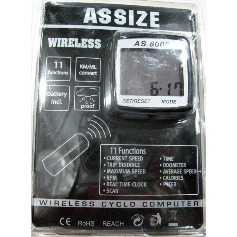 Велоспидометр ASSIZE AS8000  ,11 функций , без проводной ,Тайвань