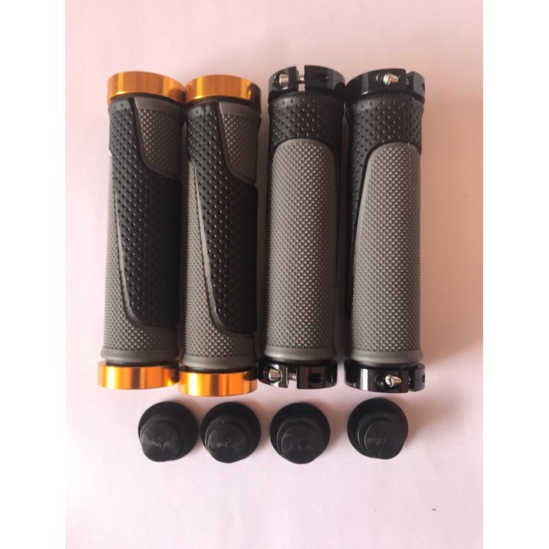 Ручки резиновые ,с замком (серо-черные)