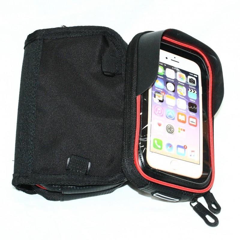"""Сумка на раму для инструмента и смартфона 5.5"""" (GA-75) , водонепроницаемый материал , B-SOUL , черный"""