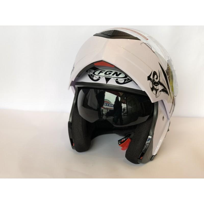 """Шлем """"трансформер"""" ,с очками ,FGN ,размер L(57,58) , белий-чёрный"""