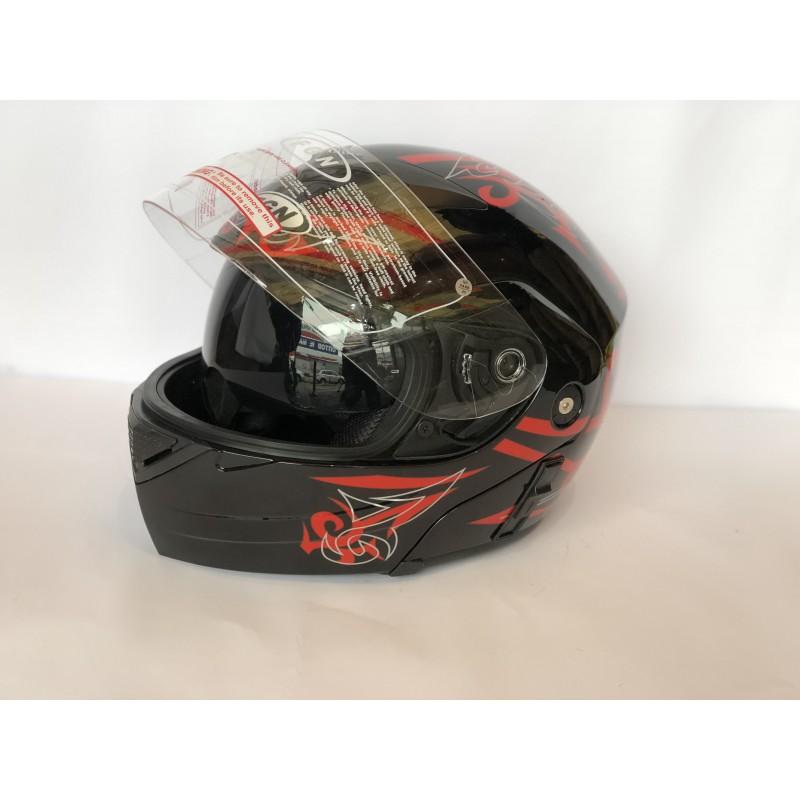 """Шлем """"трансформер"""" ,с очками ,FGN ,размер L(57,58) , чёрный-красный"""